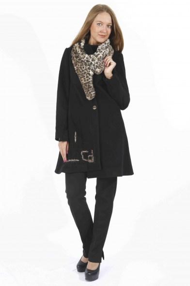 Пальто Черный леопард